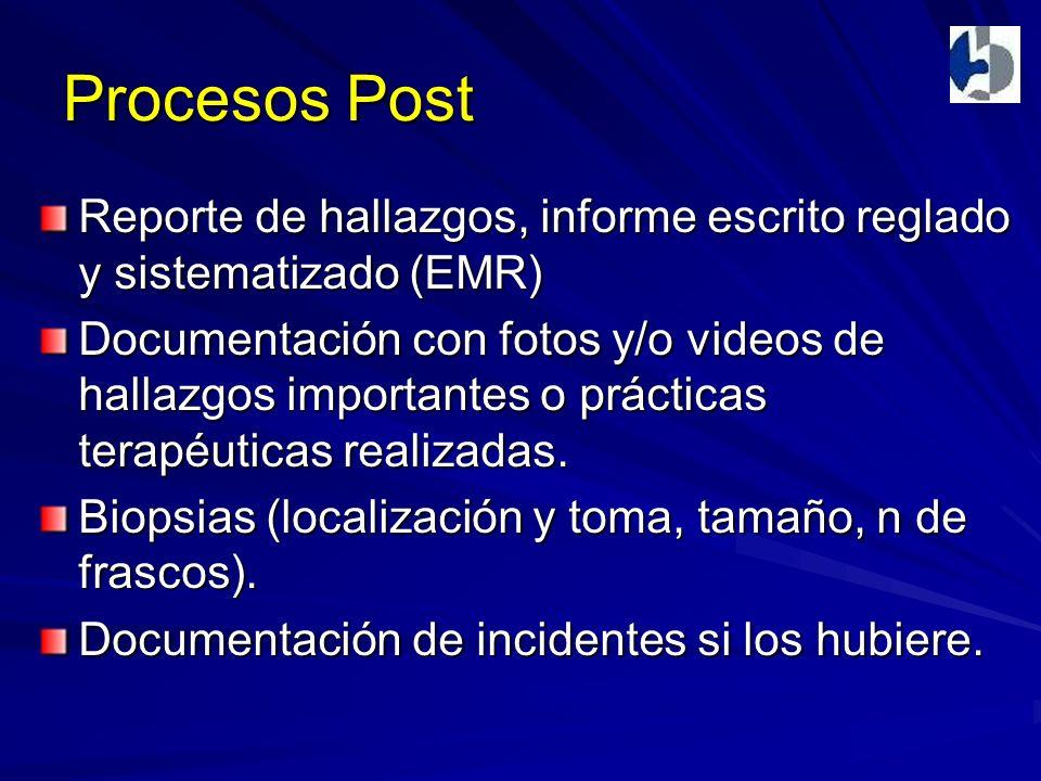 Procesos Post Reporte de hallazgos, informe escrito reglado y sistematizado (EMR) Documentación con fotos y/o videos de hallazgos importantes o prácticas terapéuticas realizadas.