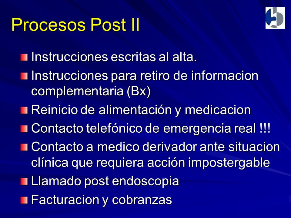 Procesos Post II Instrucciones escritas al alta.