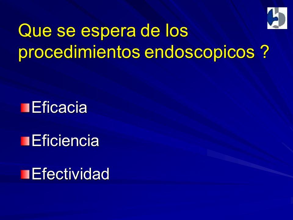 Que se espera de los procedimientos endoscopicos ? EficaciaEficienciaEfectividad