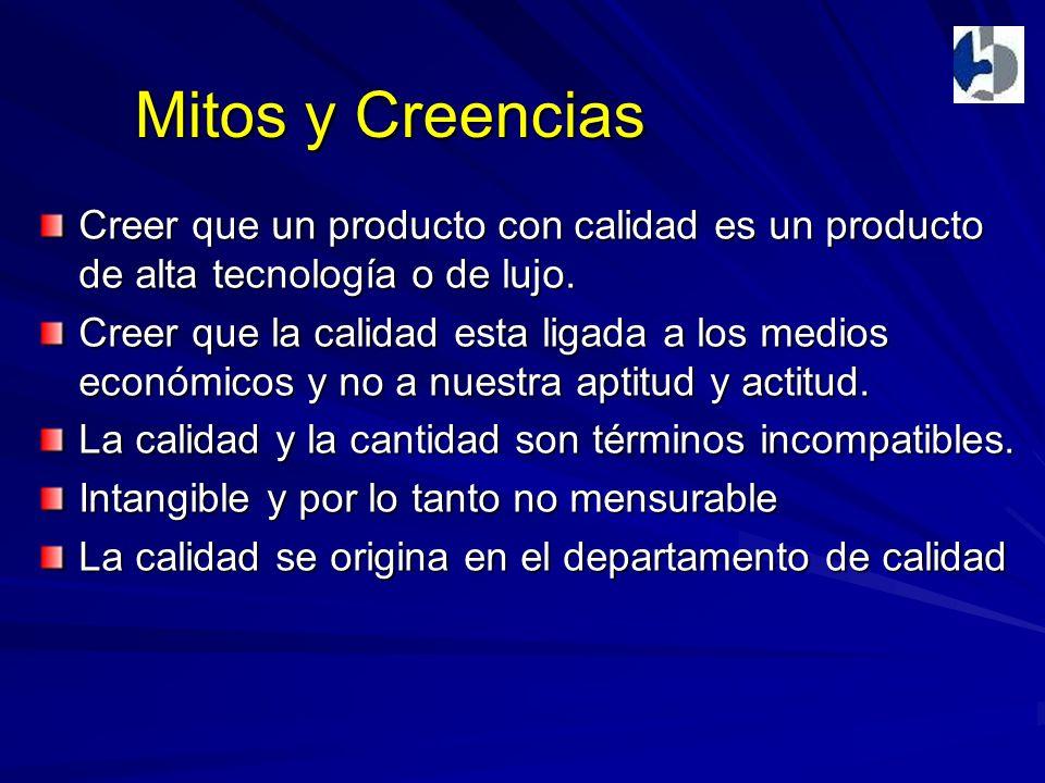 Mitos y Creencias Creer que un producto con calidad es un producto de alta tecnología o de lujo.