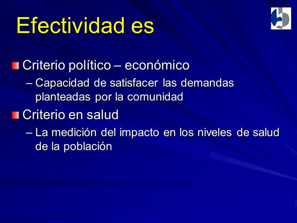 Efectividad es Criterio político – económico –Capacidad de satisfacer las demandas planteadas por la comunidad Criterio en salud –La medición del impacto en los niveles de salud de la población