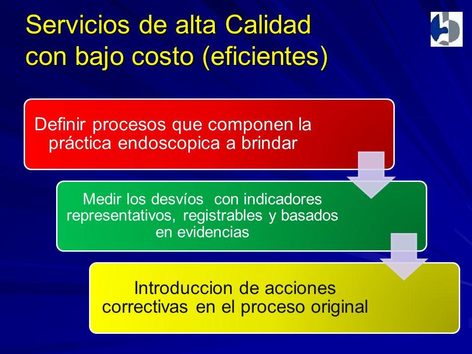 Servicios de alta Calidad con bajo costo (eficientes) Definir procesos que componen la práctica endoscopica a brindar Medir los desvíos con indicadores representativos, registrables y basados en evidencias Introduccion de acciones correctivas en el proceso original