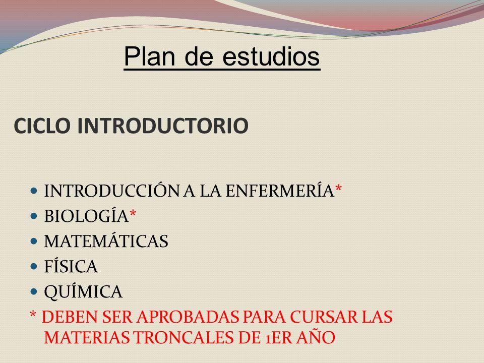 CICLO INTRODUCTORIO INTRODUCCIÓN A LA ENFERMERÍA* BIOLOGÍA* MATEMÁTICAS FÍSICA QUÍMICA * DEBEN SER APROBADAS PARA CURSAR LAS MATERIAS TRONCALES DE 1ER AÑO Plan de estudios