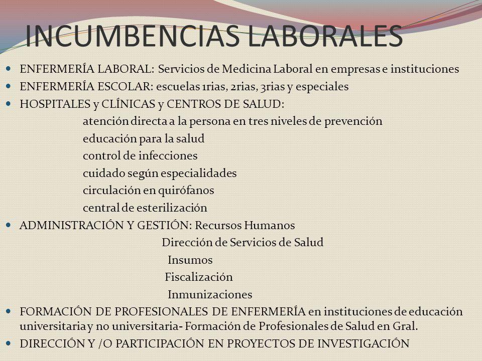INCUMBENCIAS LABORALES ENFERMERÍA LABORAL: Servicios de Medicina Laboral en empresas e instituciones ENFERMERÍA ESCOLAR: escuelas 1rias, 2rias, 3rias y especiales HOSPITALES y CLÍNICAS y CENTROS DE SALUD: atención directa a la persona en tres niveles de prevención educación para la salud control de infecciones cuidado según especialidades circulación en quirófanos central de esterilización ADMINISTRACIÓN Y GESTIÓN: Recursos Humanos Dirección de Servicios de Salud Insumos Fiscalización Inmunizaciones FORMACIÓN DE PROFESIONALES DE ENFERMERÍA en instituciones de educación universitaria y no universitaria- Formación de Profesionales de Salud en Gral.