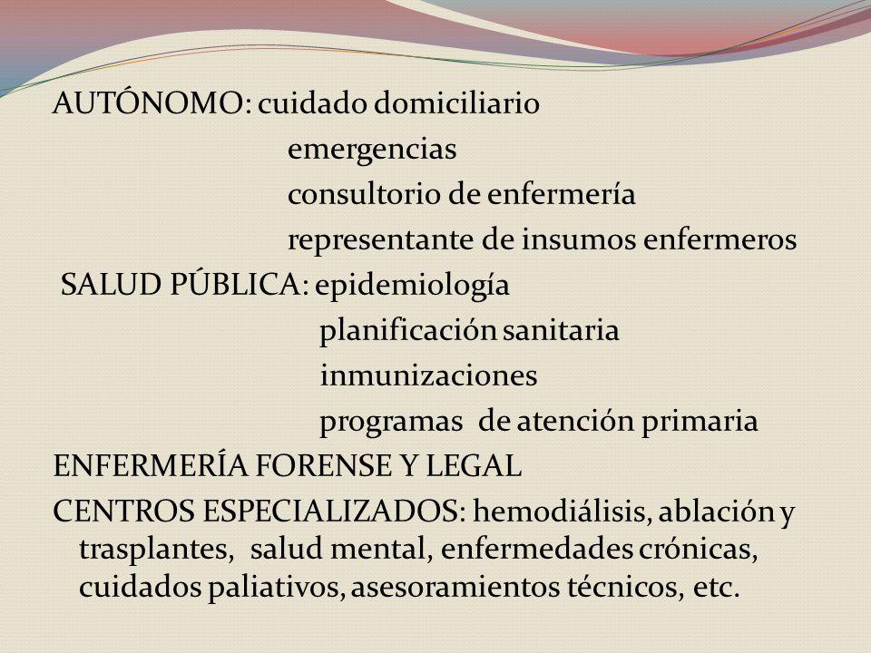 AUTÓNOMO: cuidado domiciliario emergencias consultorio de enfermería representante de insumos enfermeros SALUD PÚBLICA: epidemiología planificación sanitaria inmunizaciones programas de atención primaria ENFERMERÍA FORENSE Y LEGAL CENTROS ESPECIALIZADOS: hemodiálisis, ablación y trasplantes, salud mental, enfermedades crónicas, cuidados paliativos, asesoramientos técnicos, etc.