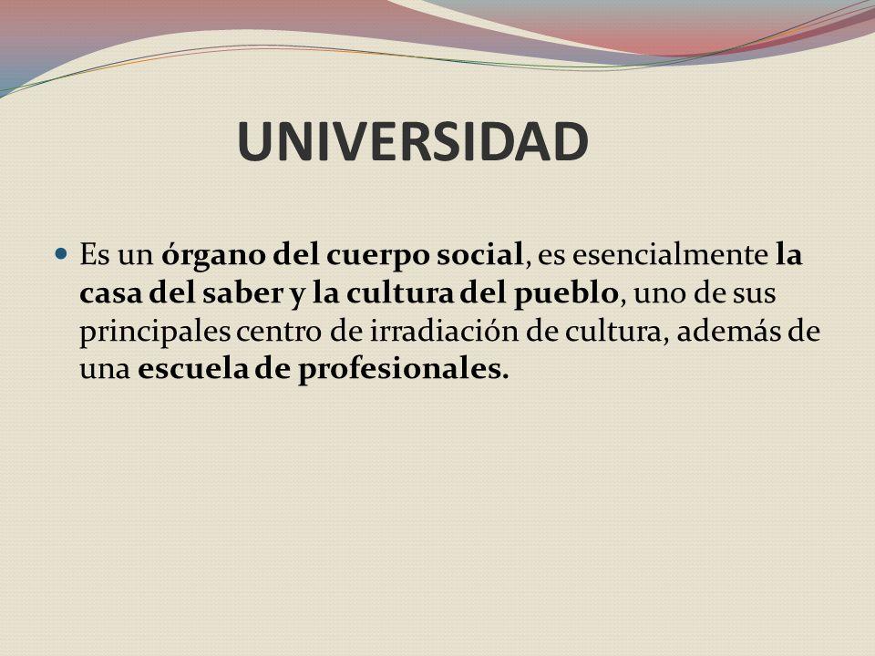 UNIVERSIDAD Es un órgano del cuerpo social, es esencialmente la casa del saber y la cultura del pueblo, uno de sus principales centro de irradiación de cultura, además de una escuela de profesionales.