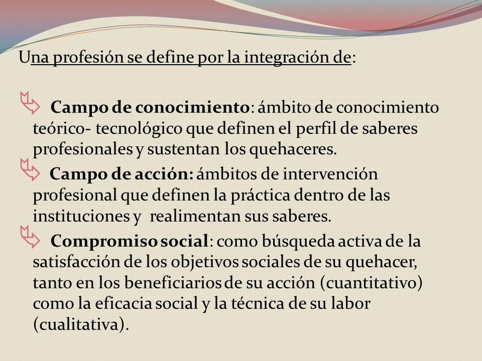Una profesión se define por la integración de: Campo de conocimiento: ámbito de conocimiento teórico- tecnológico que definen el perfil de saberes profesionales y sustentan los quehaceres.