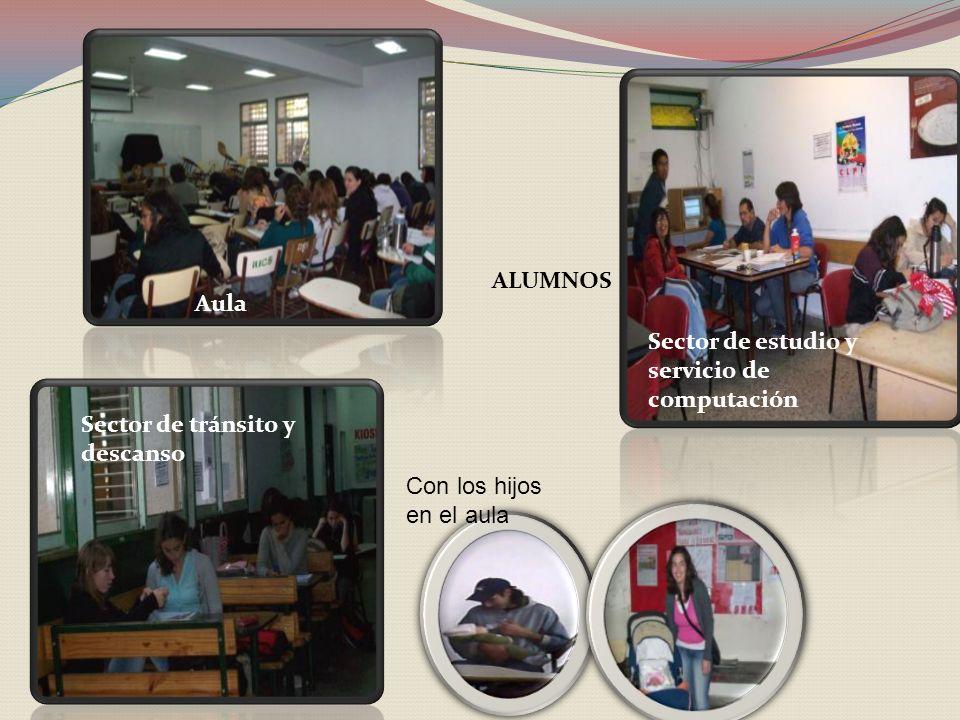 ALUMNOS Aula Sector de estudio y servicio de computación Sector de tránsito y descanso Con los hijos en el aula
