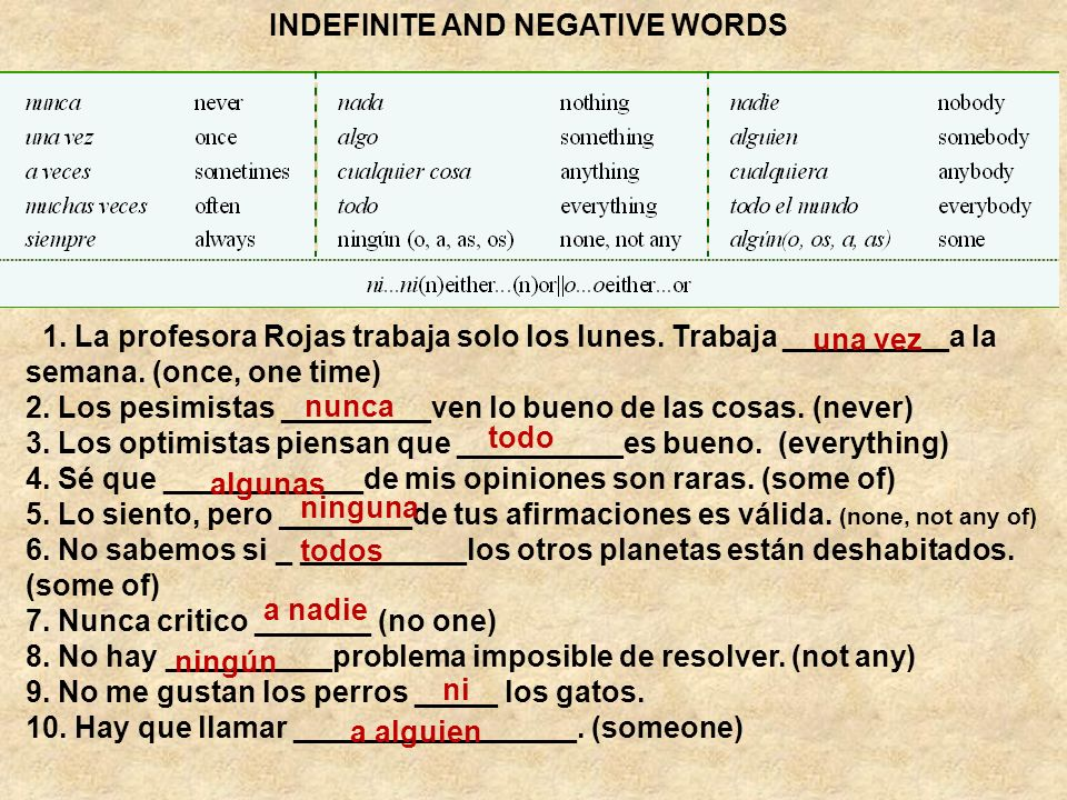 INDEFINITE AND NEGATIVE WORDS 1. La profesora Rojas trabaja solo los lunes. Trabaja ­­­­­­­­­­­­­­__________a la semana. (once, one time) 2. Los pesim