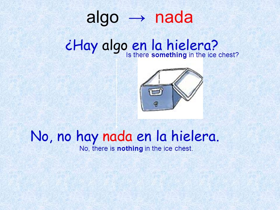 ¿Hay algo en la hielera? No, no hay nada en la hielera. Is there something in the ice chest? No, there is nothing in the ice chest. algo nada
