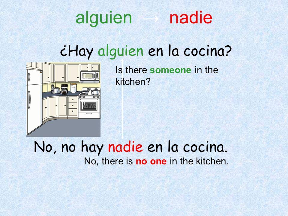 ¿Hay alguien en la cocina? No, no hay nadie en la cocina. Is there someone in the kitchen? No, there is no one in the kitchen. alguien nadie