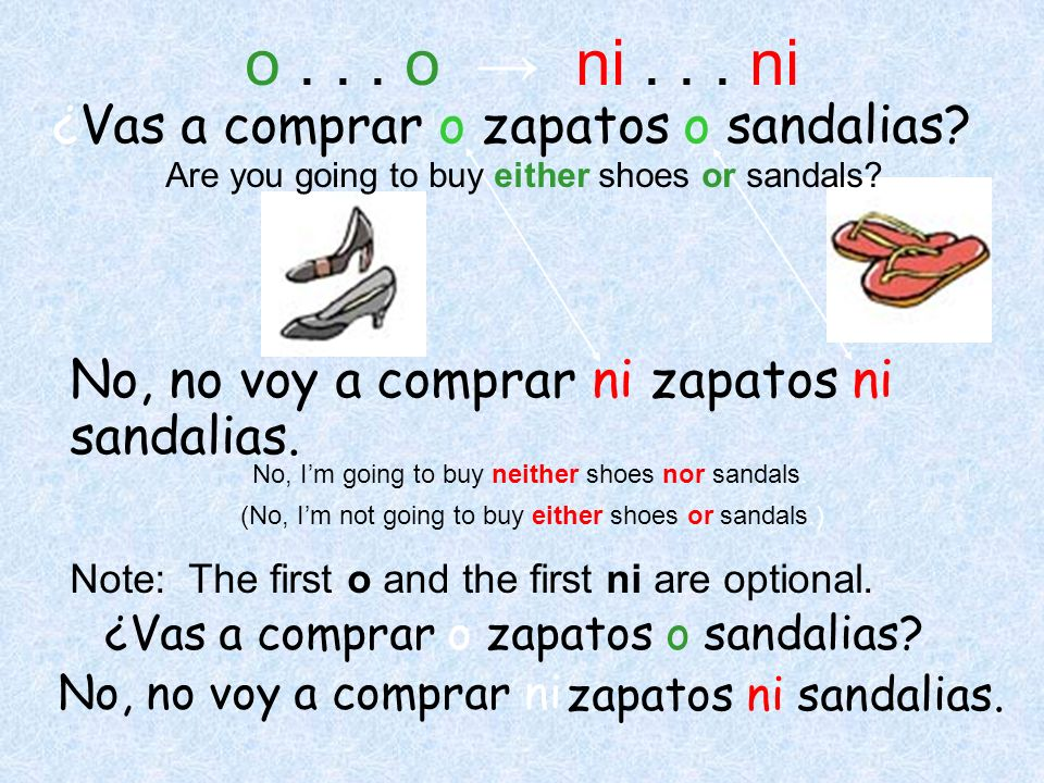 ¿Vas a compraro No, no voy a comprar ni zapatos ni sandalias. o... o ni... ni ¿Vas a comprar o zapatos o sandalias? Are you going to buy either shoes