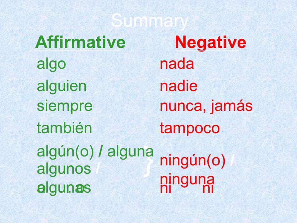 } Summary algonada alguiennadie siemprenunca, jamás tambiéntampoco algún(o) / alguna algunos / algunas ningún(o) / ninguna o... o ni... ni Affirmative