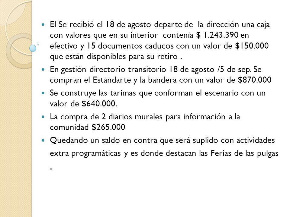 El Se recibió el 18 de agosto departe de la dirección una caja con valores que en su interior contenía $ 1.243.390 en efectivo y 15 documentos caducos con un valor de $150.000 que están disponibles para su retiro.