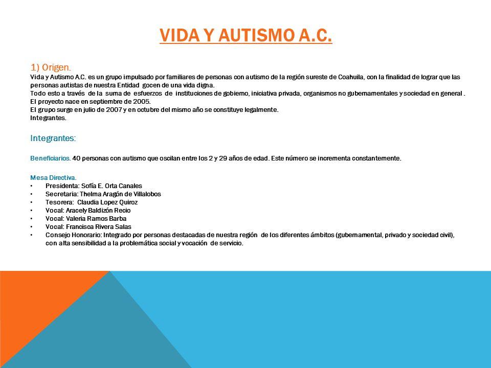 VIDA Y AUTISMO A.C. 1) Origen. Vida y Autismo A.C. es un grupo impulsado por familiares de personas con autismo de la región sureste de Coahuila, con
