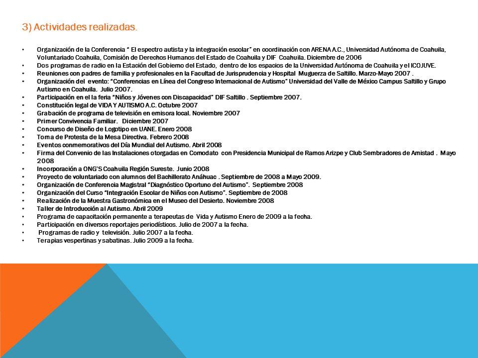 3) Actividades realizadas. Organización de la Conferencia El espectro autista y la integración escolar en coordinación con ARENA A.C., Universidad Aut