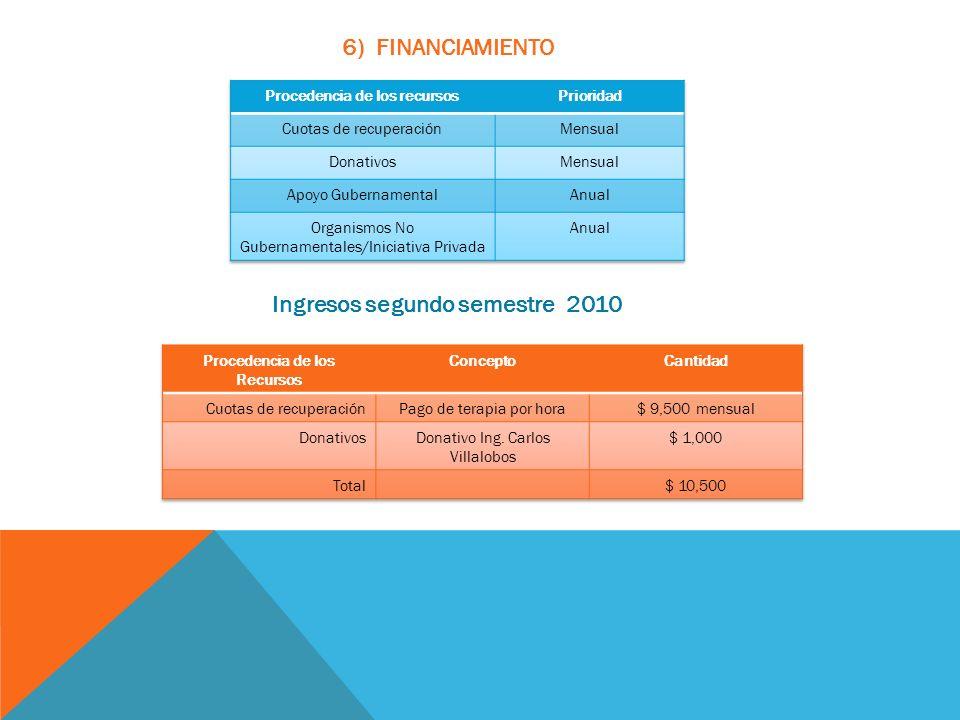 6) FINANCIAMIENTO Ingresos segundo semestre 2010