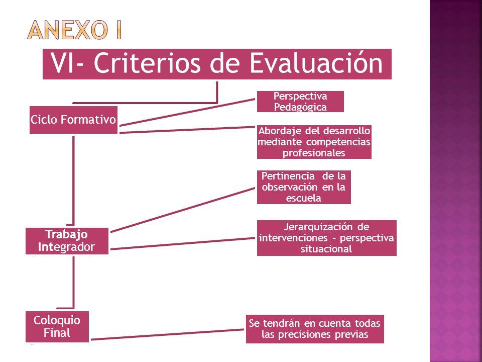 VI- Criterios de Evaluación Ciclo Formativo Trabajo Integrador Pertinencia de la observación en la escuela Jerarquización de intervenciones – perspect