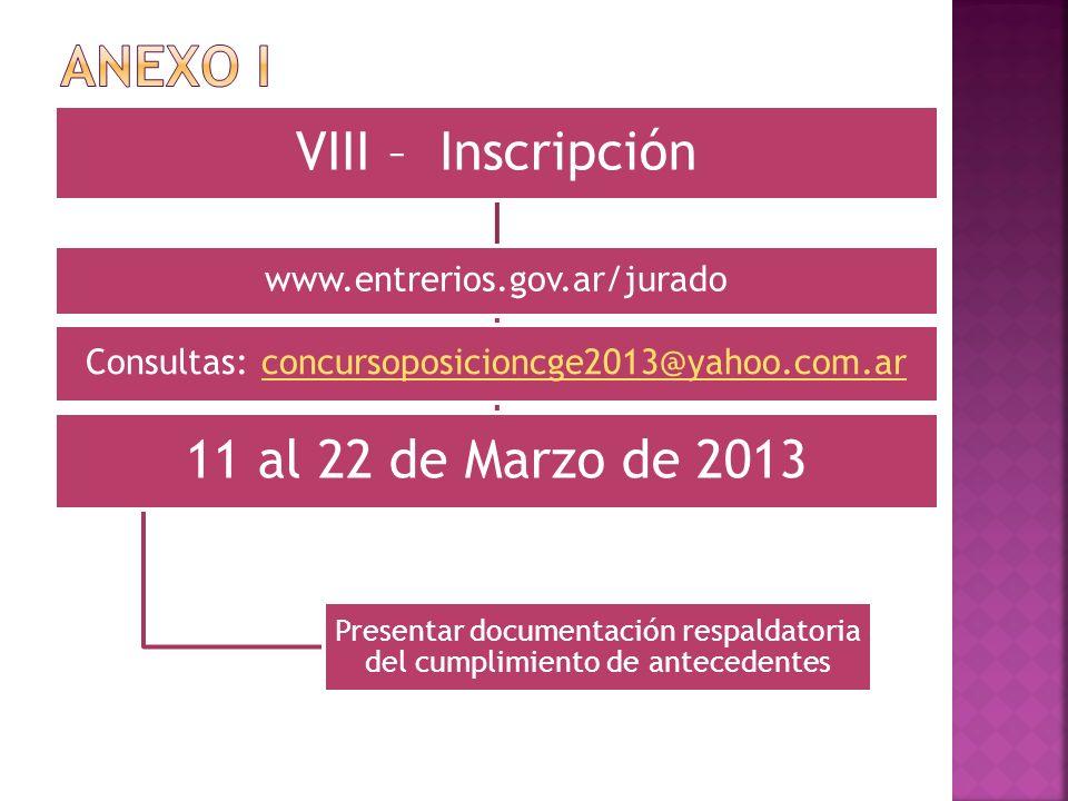 VIII – Inscripción www.entrerios.gov.ar/jurado Consultas: concursoposicioncge2013@yahoo.com.arconcursoposicioncge2013@yahoo.com.ar 11 al 22 de Marzo d