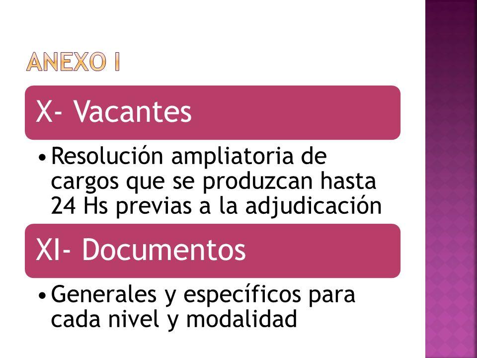 X- Vacantes Resolución ampliatoria de cargos que se produzcan hasta 24 Hs previas a la adjudicación XI- Documentos Generales y específicos para cada n