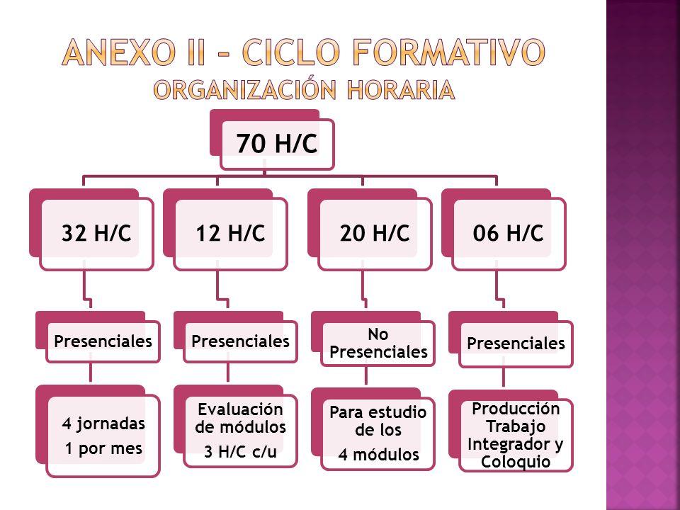 70 H/C 32 H/C Presenciales 4 jornadas 1 por mes 12 H/C Presenciales Evaluación de módulos 3 H/C c/u 20 H/C No Presenciales Para estudio de los 4 módul