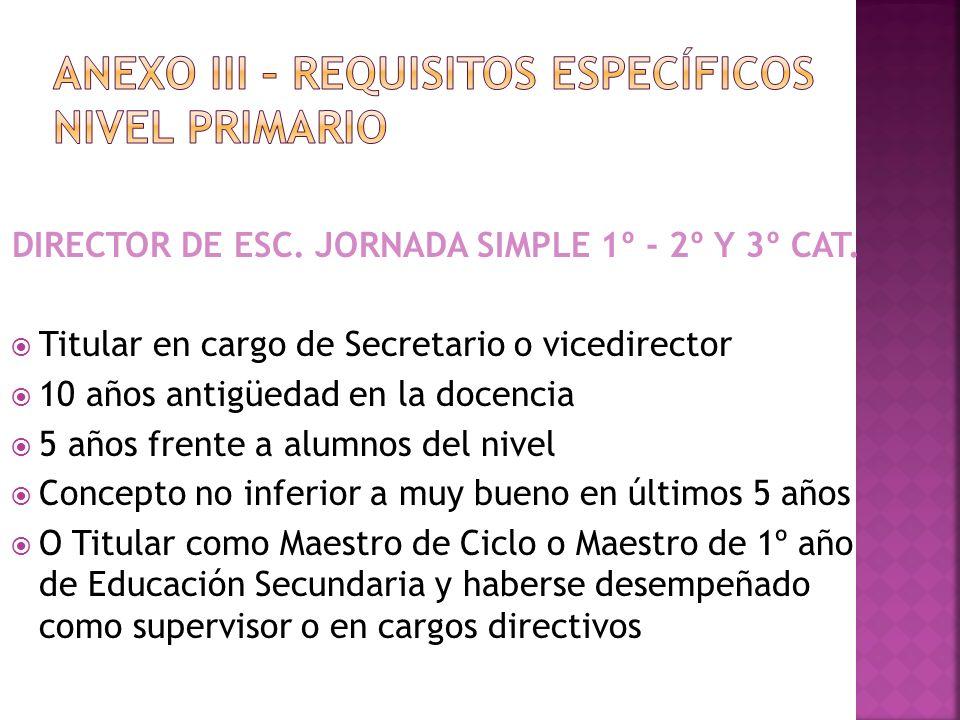 VICEDIRECTOR ESCUELA DE JORNADA SIMPLE Titular como Maestro de Ciclo o Maestro de 1º año de Educación Secundaria, Director de PU o 4ta.
