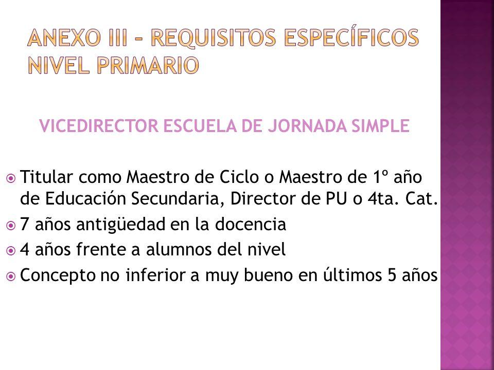 VICEDIRECTOR ESCUELA DE JORNADA SIMPLE Titular como Maestro de Ciclo o Maestro de 1º año de Educación Secundaria, Director de PU o 4ta. Cat. 7 años an