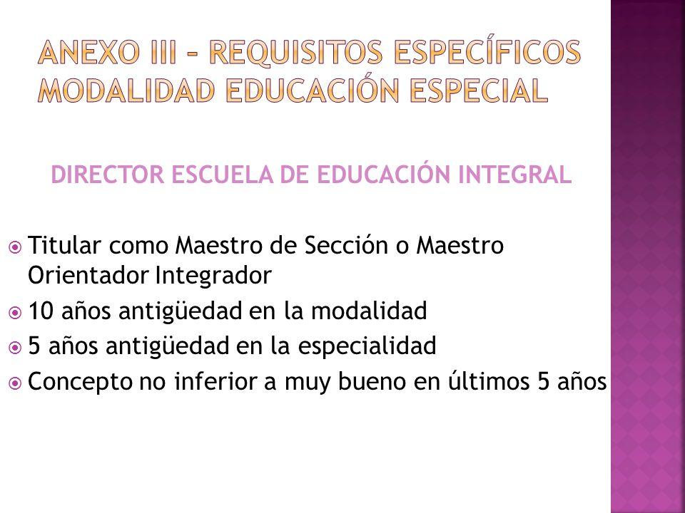DIRECTOR ESCUELA DE EDUCACIÓN INTEGRAL Titular como Maestro de Sección o Maestro Orientador Integrador 10 años antigüedad en la modalidad 5 años antig