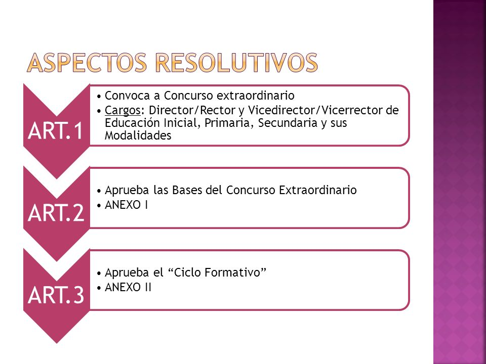 ART.4 Aprueba requisitos para la inscripción ANEXO III ART.5 Aprueba Inscripción on line Del 11 al 22 de marzo de 2013 www.entrerios.gov.ar/jurado ART.6 Establece presentación de Certificado de salud psico física en la adjudicación