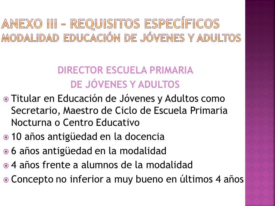 DIRECTOR ESCUELA PRIMARIA DE JÓVENES Y ADULTOS Titular en Educación de Jóvenes y Adultos como Secretario, Maestro de Ciclo de Escuela Primaria Nocturn