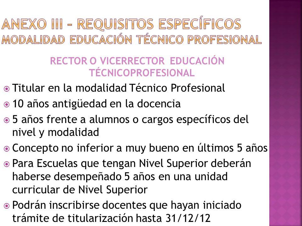RECTOR O VICERRECTOR EDUCACIÓN TÉCNICOPROFESIONAL Titular en la modalidad Técnico Profesional 10 años antigüedad en la docencia 5 años frente a alumno