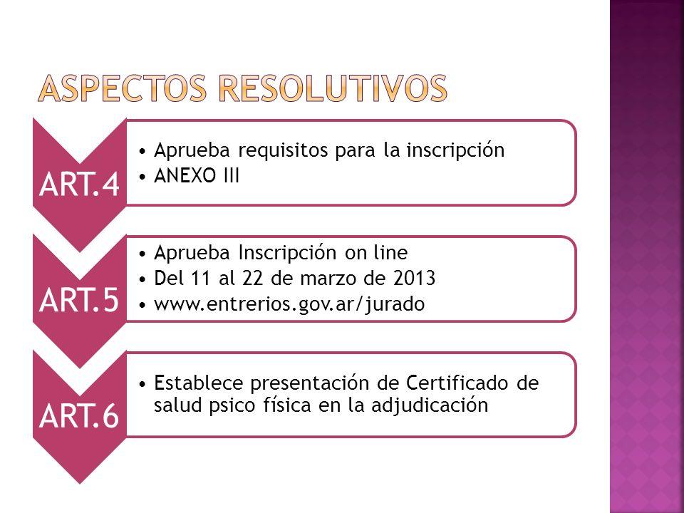 ART.4 Aprueba requisitos para la inscripción ANEXO III ART.5 Aprueba Inscripción on line Del 11 al 22 de marzo de 2013 www.entrerios.gov.ar/jurado ART