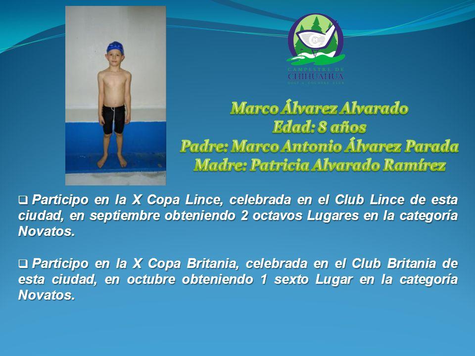 Participo en la X Copa Lince, celebrada en el Club Lince de esta ciudad, en septiembre obteniendo 2 octavos Lugares en la categoría Novatos.
