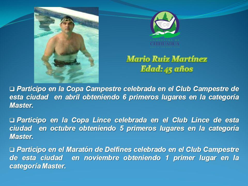 Participo en la Copa Campestre celebrada en el Club Campestre de esta ciudad en abril obteniendo 6 primeros lugares en la categoría Master.
