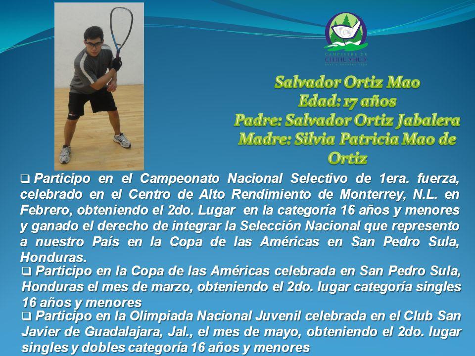 Participo en el Campeonato Nacional Selectivo de 1era.