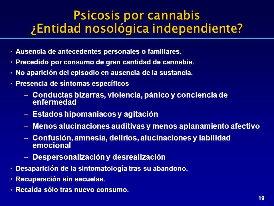 19 Psicosis por cannabis ¿Entidad nosológica independiente? Ausencia de antecedentes personales o familiares. Precedido por consumo de gran cantidad d