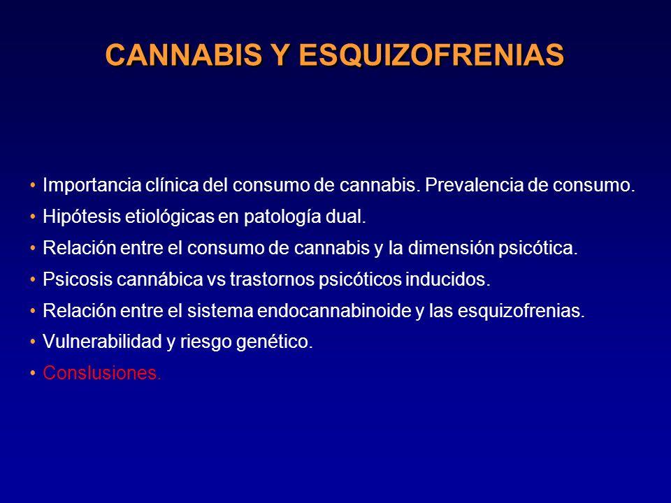 CANNABIS Y ESQUIZOFRENIAS Importancia clínica del consumo de cannabis. Prevalencia de consumo. Hipótesis etiológicas en patología dual. Relación entre