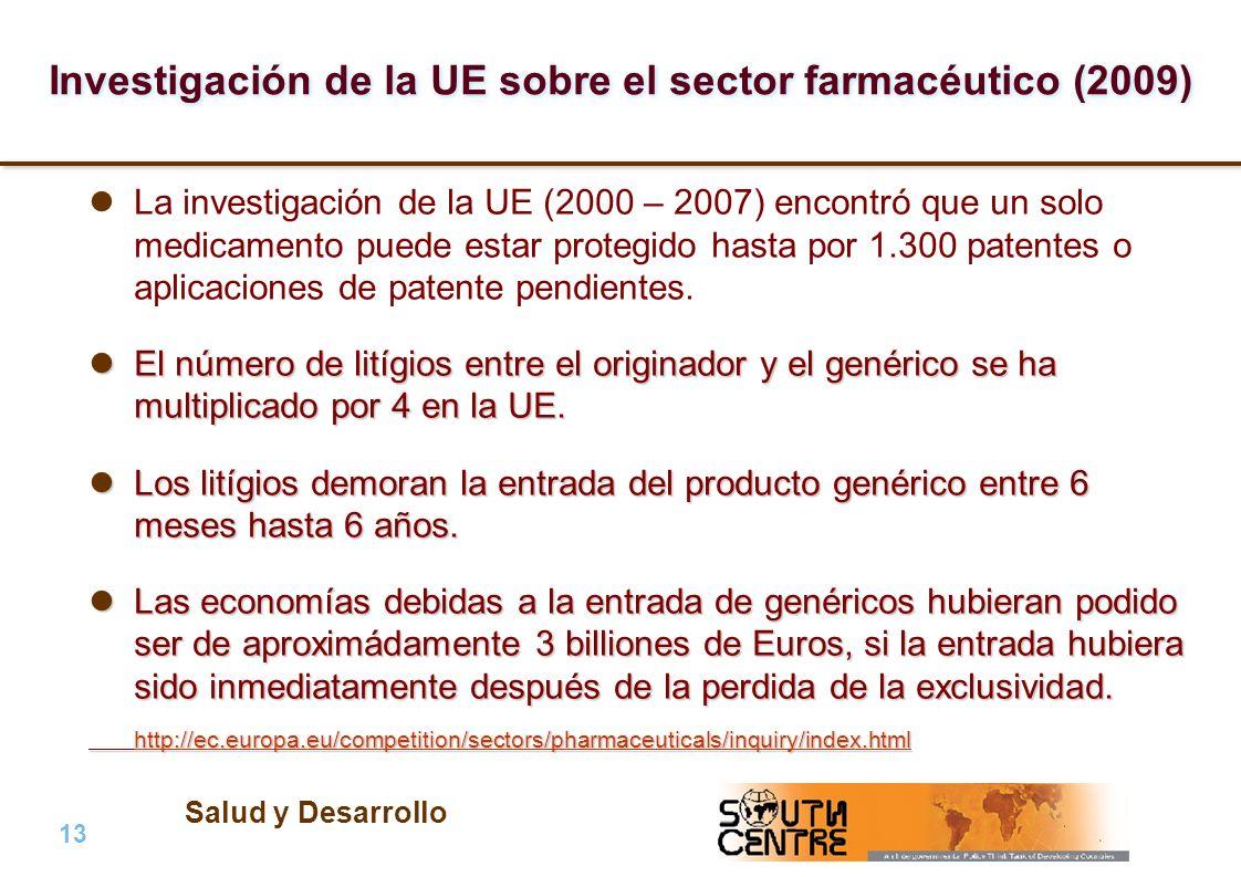 Salud y Desarrollo 13 | PubPub Investigación de la UE sobre el sector farmacéutico (2009) La investigación de la UE (2000 – 2007) encontró que un solo medicamento puede estar protegido hasta por 1.300 patentes o aplicaciones de patente pendientes.
