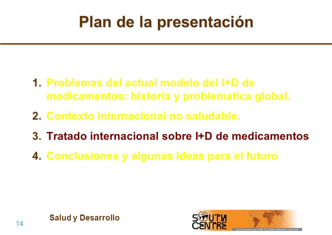 Salud y Desarrollo 14 | PubPub Plan de la presentación 1.Problemas del actual modelo del I+D de medicamentos: historia y problematica global.