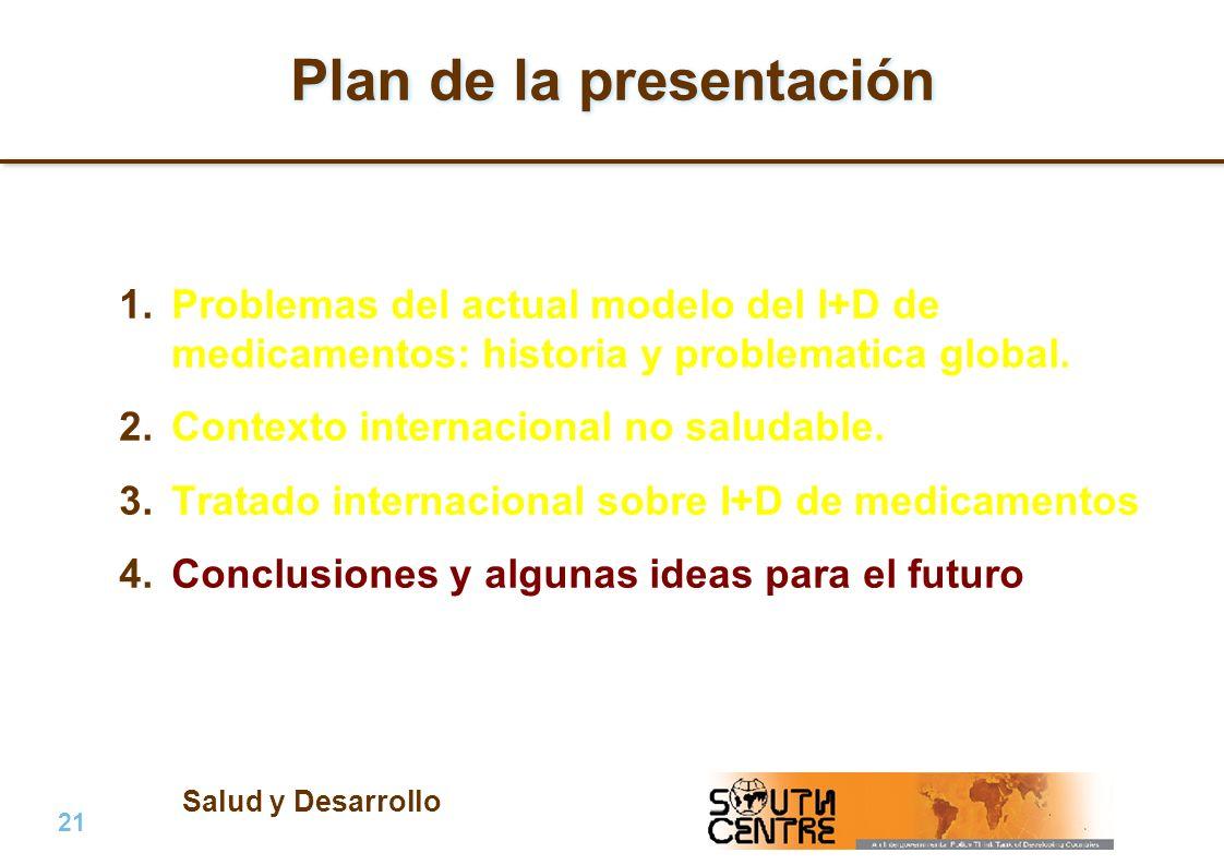 Salud y Desarrollo 21 | PubPub Plan de la presentación 1.Problemas del actual modelo del I+D de medicamentos: historia y problematica global.