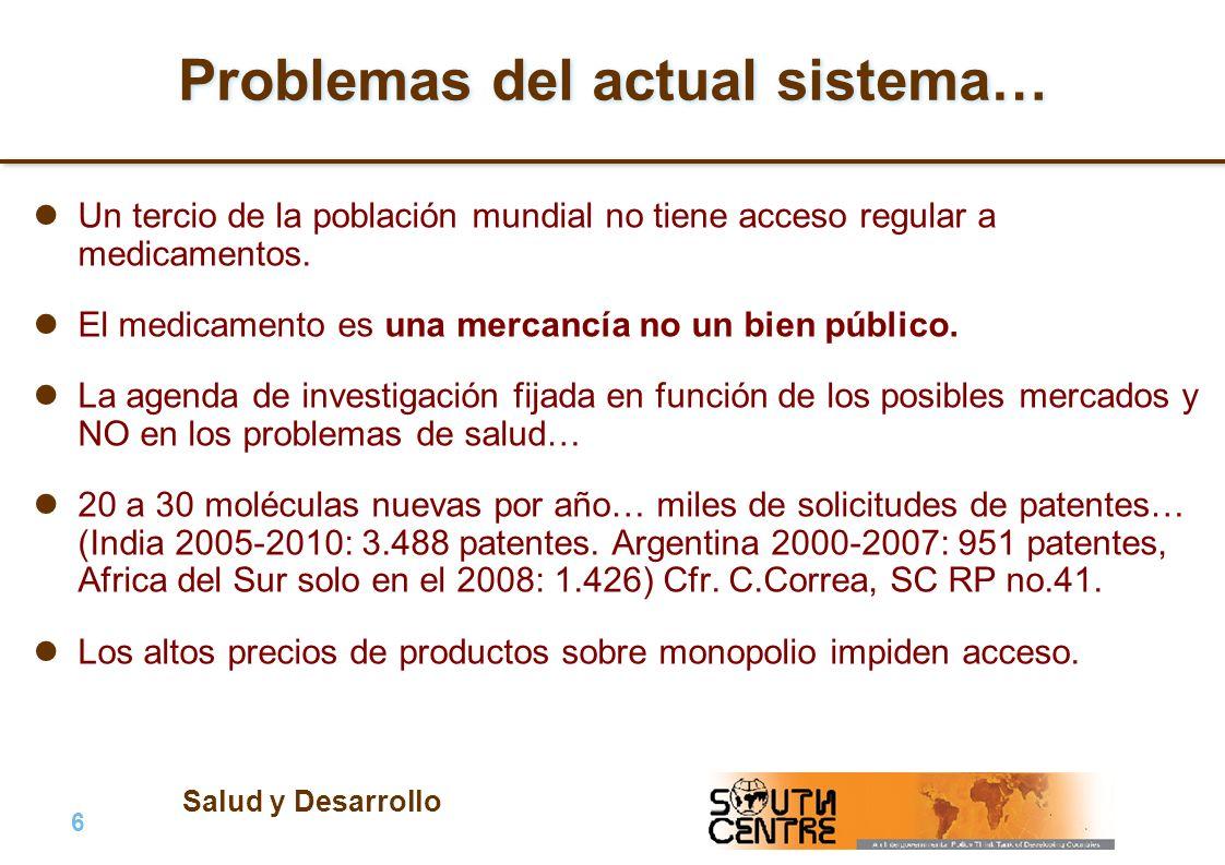 Salud y Desarrollo 6 |6 | PubPub Problemas del actual sistema… Un tercio de la población mundial no tiene acceso regular a medicamentos.