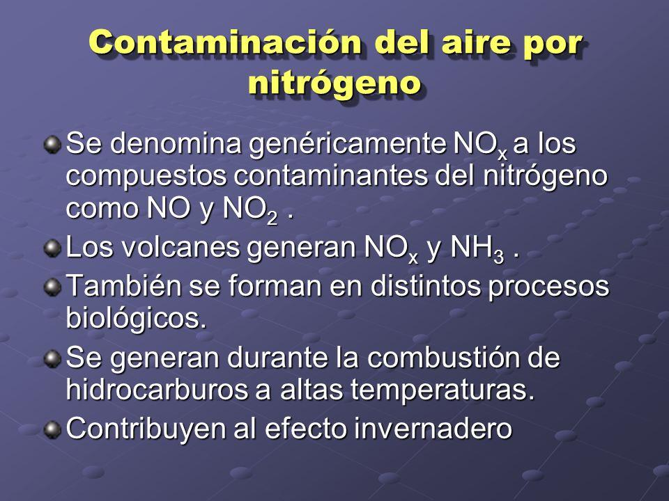 Contaminación del aire por nitrógeno Se denomina genéricamente NO x a los compuestos contaminantes del nitrógeno como NO y NO 2.