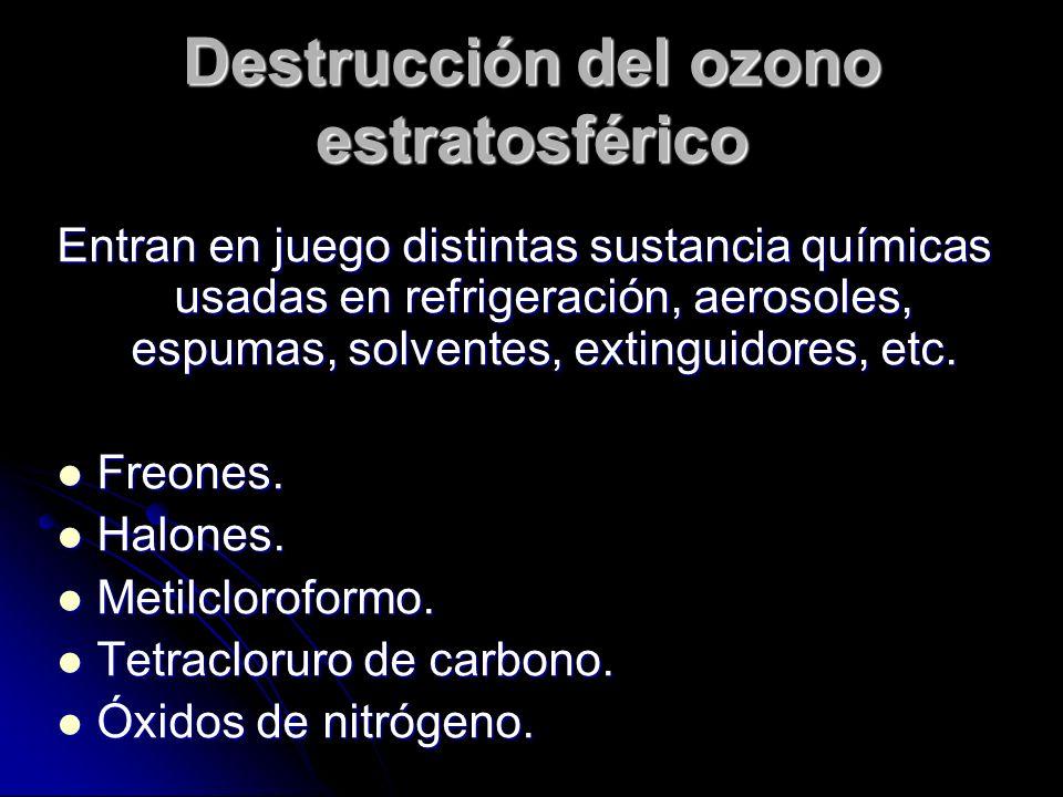 Destrucción del ozono estratosférico Entran en juego distintas sustancia químicas usadas en refrigeración, aerosoles, espumas, solventes, extinguidores, etc.