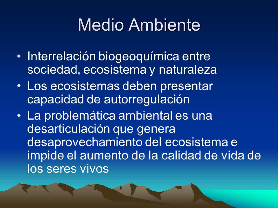 Medio Ambiente Interrelación biogeoquímica entre sociedad, ecosistema y naturaleza Los ecosistemas deben presentar capacidad de autorregulación La problemática ambiental es una desarticulación que genera desaprovechamiento del ecosistema e impide el aumento de la calidad de vida de los seres vivos