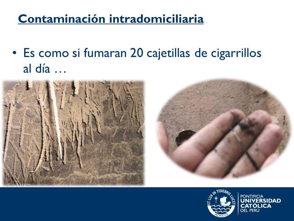 Contaminación intradomiciliaria Es como si fumaran 20 cajetillas de cigarrillos al día …