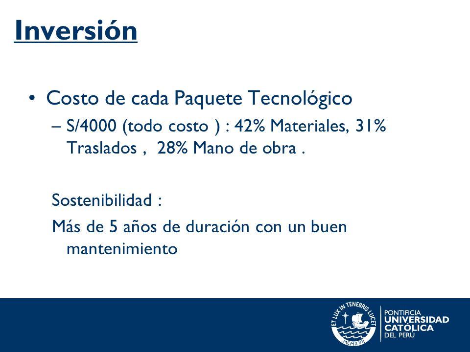 Inversión Costo de cada Paquete Tecnológico –S/4000 (todo costo ) : 42% Materiales, 31% Traslados, 28% Mano de obra. Sostenibilidad : Más de 5 años de