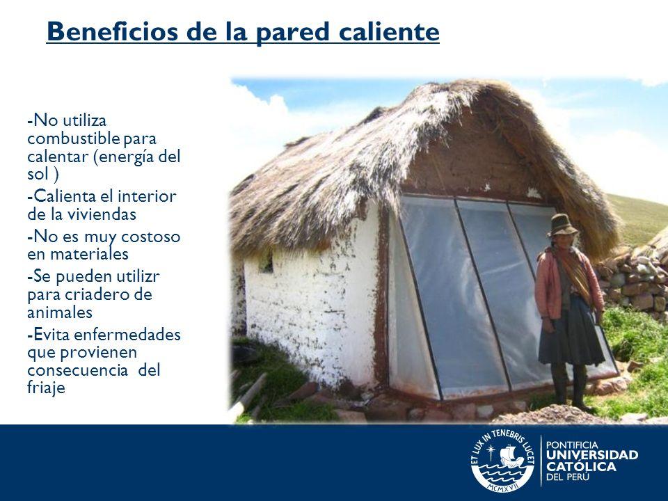 Beneficios de la pared caliente -No utiliza combustible para calentar (energía del sol ) -Calienta el interior de la viviendas -No es muy costoso en m