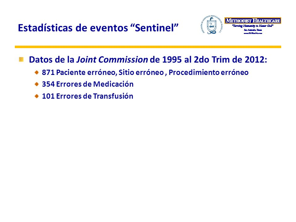 Estadísticas de eventos Sentinel Datos de la Joint Commission de 1995 al 2do Trim de 2012: 871 Paciente erróneo, Sitio erróneo, Procedimiento erróneo 354 Errores de Medicación 101 Errores de Transfusión