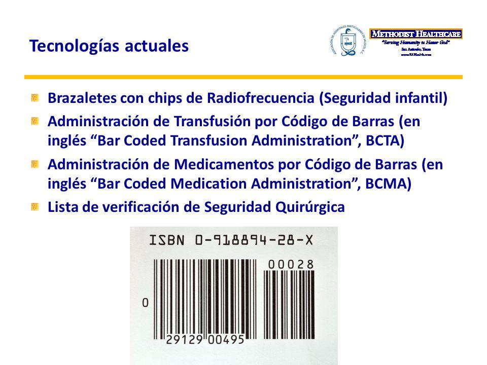 Tecnologías actuales Brazaletes con chips de Radiofrecuencia (Seguridad infantil) Administración de Transfusión por Código de Barras (en inglés Bar Coded Transfusion Administration, BCTA) Administración de Medicamentos por Código de Barras (en inglés Bar Coded Medication Administration, BCMA) Lista de verificación de Seguridad Quirúrgica