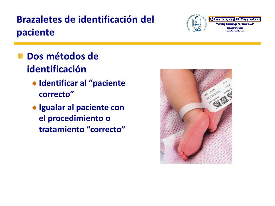 Brazaletes de identificación del paciente Dos métodos de identificación Identificar al paciente correcto Igualar al paciente con el procedimiento o tratamiento correcto
